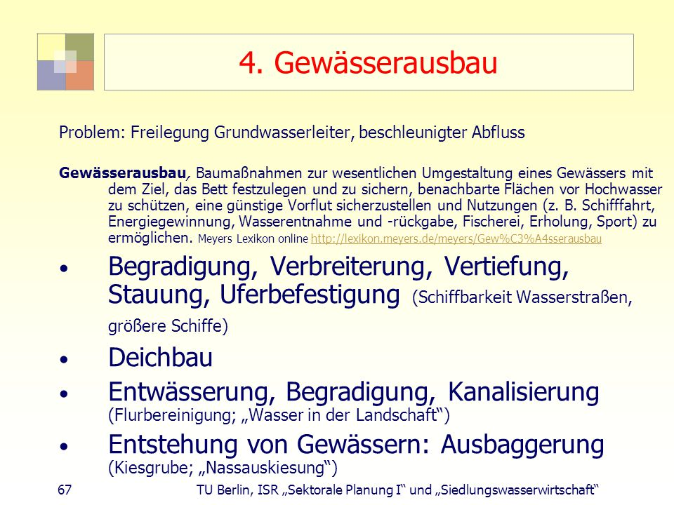 """67 TU Berlin, ISR """"Sektorale Planung I und """"Siedlungswasserwirtschaft 4."""