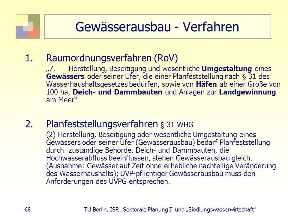 """68 TU Berlin, ISR """"Sektorale Planung I und """"Siedlungswasserwirtschaft Gewässerausbau - Verfahren 1.Raumordnungsverfahren (RoV) """"7."""