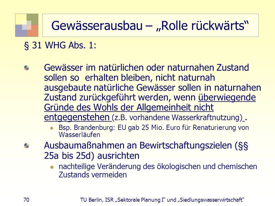 """70 TU Berlin, ISR """"Sektorale Planung I und """"Siedlungswasserwirtschaft Gewässerausbau – """"Rolle rückwärts § 31 WHG Abs."""