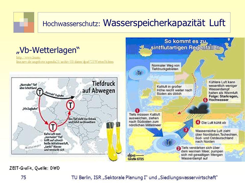 """75 TU Berlin, ISR """"Sektorale Planung I und """"Siedlungswasserwirtschaft Hochwasserschutz: Wasserspeicherkapazität Luft """"Vb-Wetterlagen http://www.learn- line.nrw.de/angebote/agenda21/archiv/03/daten/dpa6725Wetter5b.htm"""