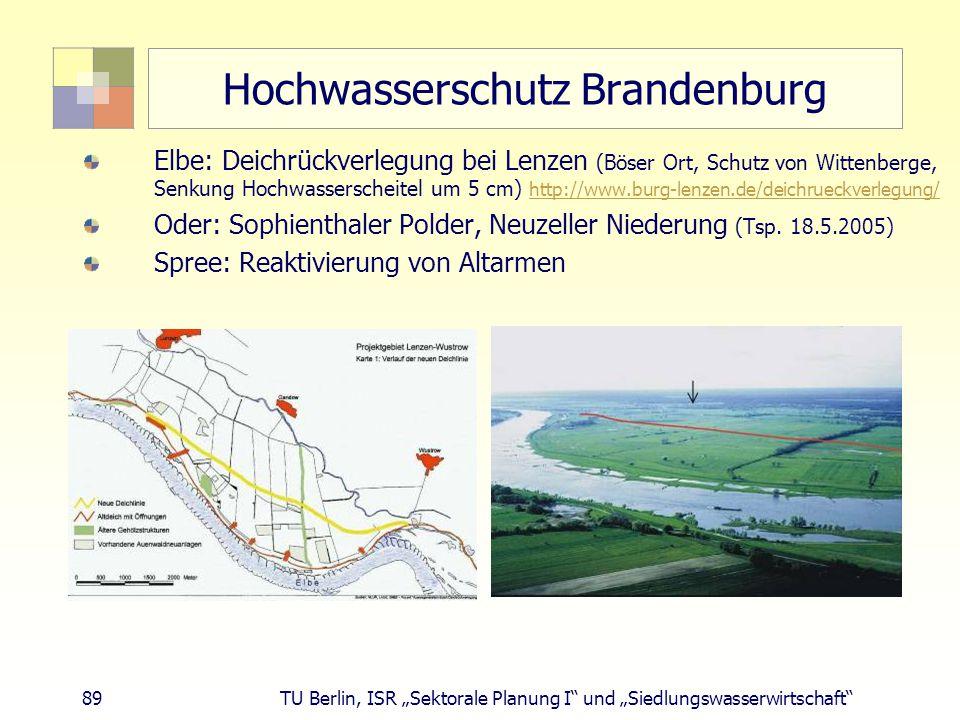 """89 TU Berlin, ISR """"Sektorale Planung I und """"Siedlungswasserwirtschaft Hochwasserschutz Brandenburg Elbe: Deichrückverlegung bei Lenzen (Böser Ort, Schutz von Wittenberge, Senkung Hochwasserscheitel um 5 cm) http://www.burg-lenzen.de/deichrueckverlegung/ http://www.burg-lenzen.de/deichrueckverlegung/ Oder: Sophienthaler Polder, Neuzeller Niederung (Tsp."""