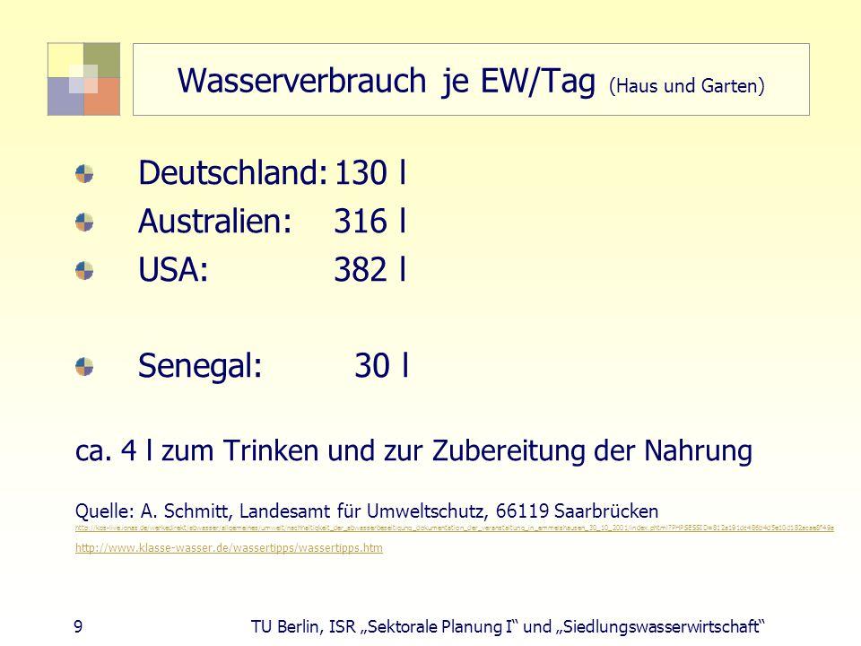 """9 TU Berlin, ISR """"Sektorale Planung I und """"Siedlungswasserwirtschaft Wasserverbrauch je EW/Tag (Haus und Garten) Deutschland:130 l Australien: 316 l USA: 382 l Senegal: 30 l ca."""