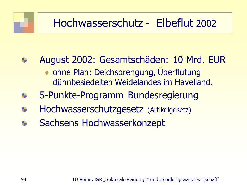 """93 TU Berlin, ISR """"Sektorale Planung I und """"Siedlungswasserwirtschaft Hochwasserschutz - Elbeflut 2002 August 2002: Gesamtschäden: 10 Mrd."""