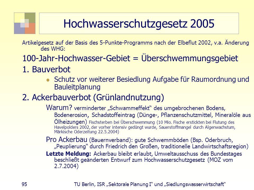 """95 TU Berlin, ISR """"Sektorale Planung I und """"Siedlungswasserwirtschaft Hochwasserschutzgesetz 2005 Artikelgesetz auf der Basis des 5-Punkte-Programms nach der Elbeflut 2002, v.a."""