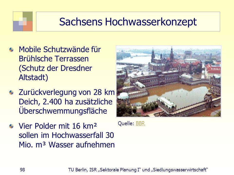 """98 TU Berlin, ISR """"Sektorale Planung I und """"Siedlungswasserwirtschaft Sachsens Hochwasserkonzept Mobile Schutzwände für Brühlsche Terrassen (Schutz der Dresdner Altstadt) Zurückverlegung von 28 km Deich, 2.400 ha zusätzliche Überschwemmungsfläche Vier Polder mit 16 km² sollen im Hochwasserfall 30 Mio."""