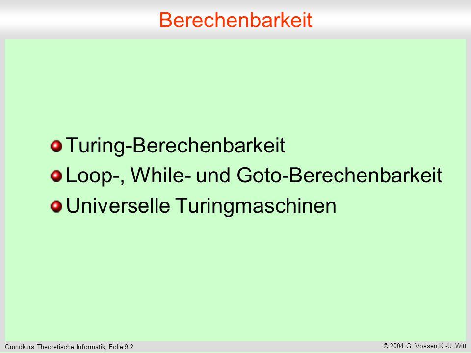 Grundkurs Theoretische Informatik, Folie 9.2 © 2004 G. Vossen,K.-U. Witt Berechenbarkeit Turing-Berechenbarkeit Loop-, While- und Goto-Berechenbarkeit
