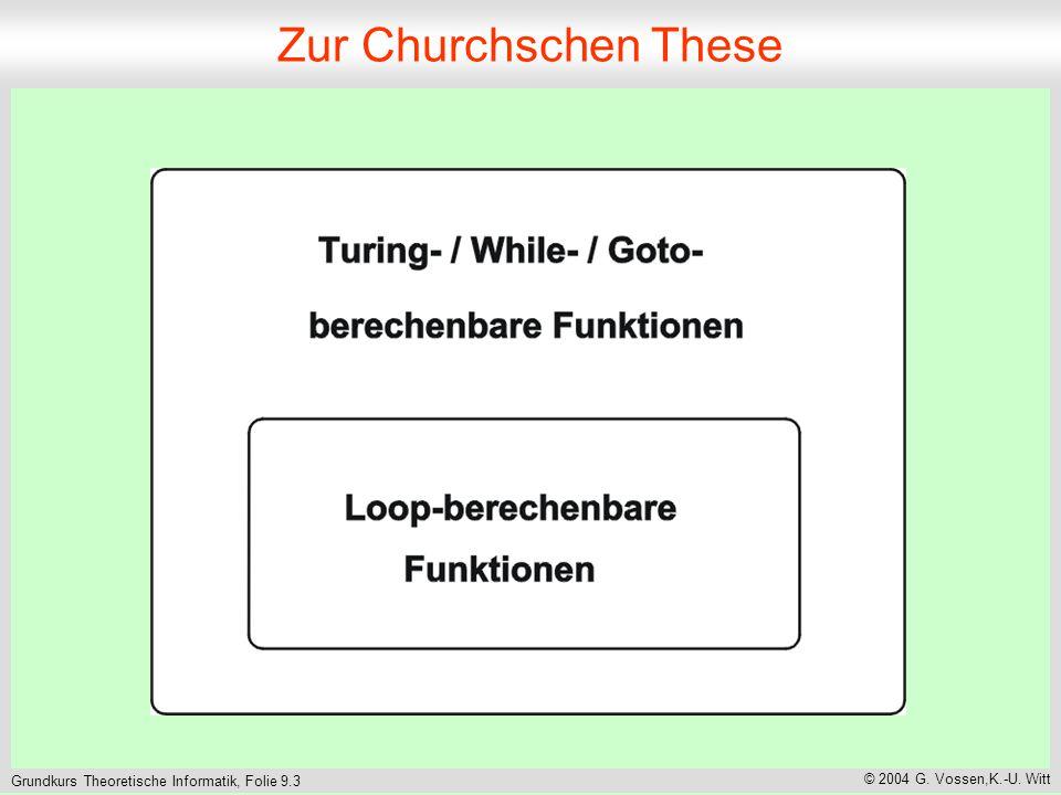 Grundkurs Theoretische Informatik, Folie 9.3 © 2004 G. Vossen,K.-U. Witt Zur Churchschen These