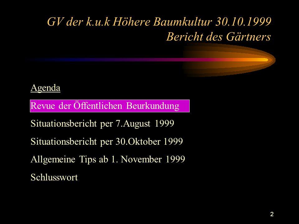 13 GV der k.u.k Höhere Baumkultur 30.10.1999 Bericht des Gärtners Das Holz steht, bzw.