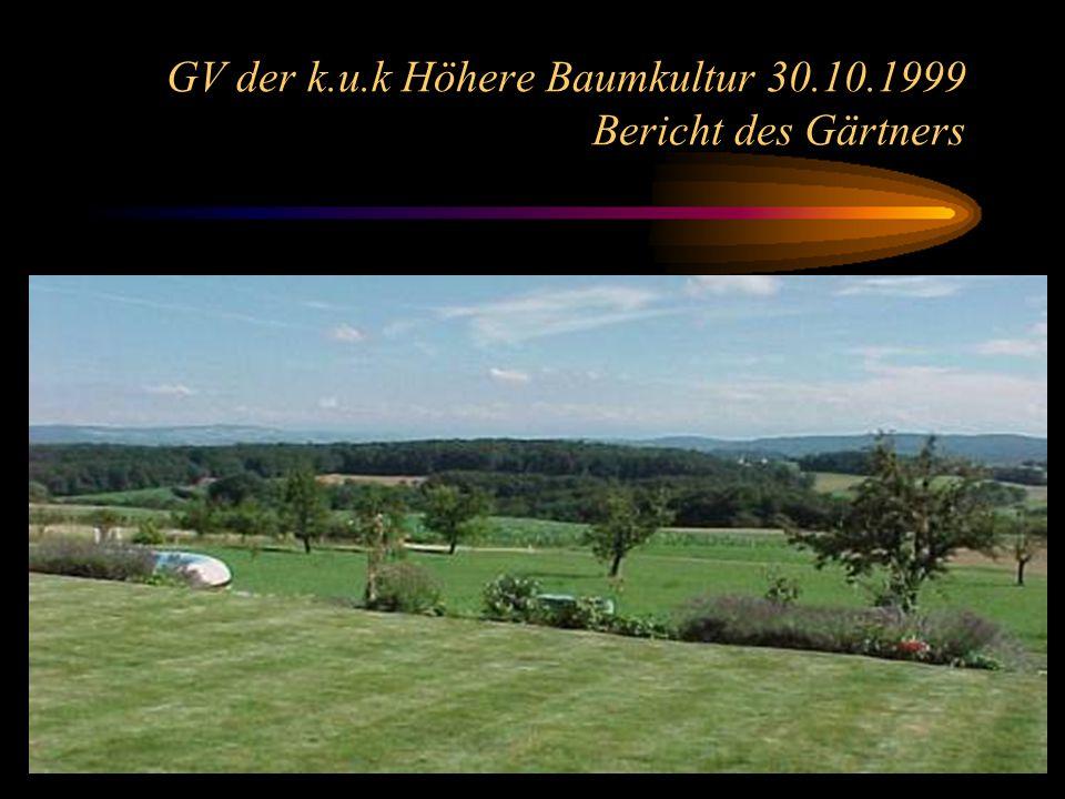 5 GV der k.u.k Höhere Baumkultur 30.10.1999 Bericht des Gärtners