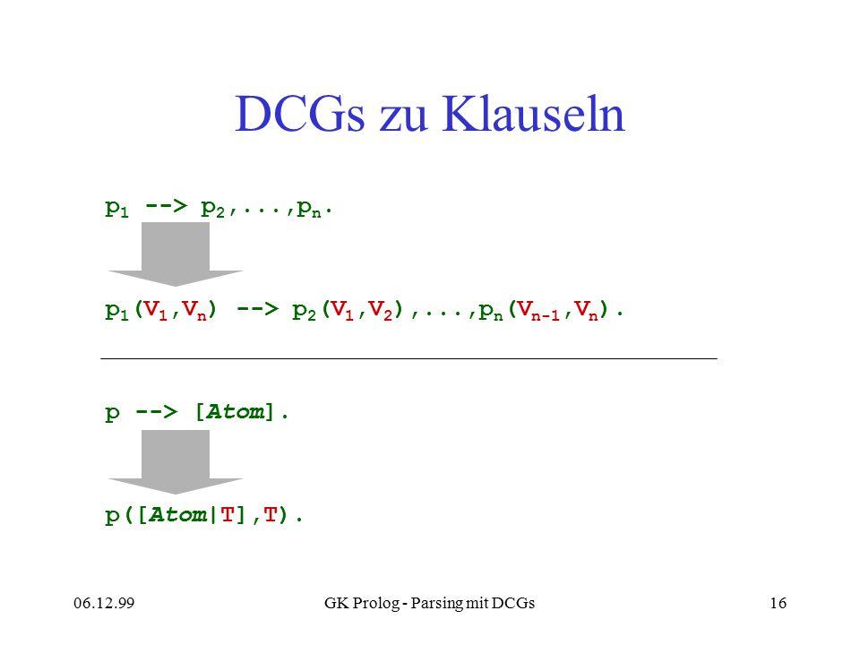06.12.99GK Prolog - Parsing mit DCGs16 DCGs zu Klauseln p 1 --> p 2,...,p n. p 1 (V 1,V n ) --> p 2 (V 1,V 2 ),...,p n (V n-1,V n ). p --> [Atom]. p([