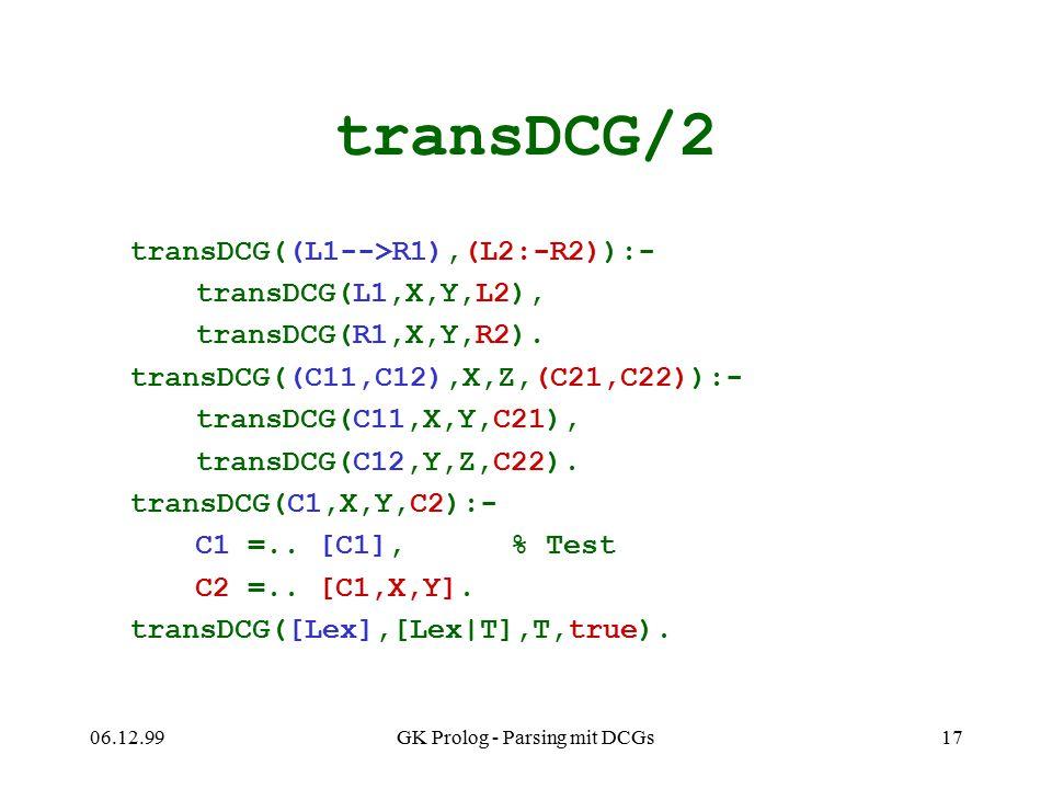 06.12.99GK Prolog - Parsing mit DCGs17 transDCG/2 transDCG((L1-->R1),(L2:-R2)):- transDCG(L1,X,Y,L2), transDCG(R1,X,Y,R2). transDCG((C11,C12),X,Z,(C21