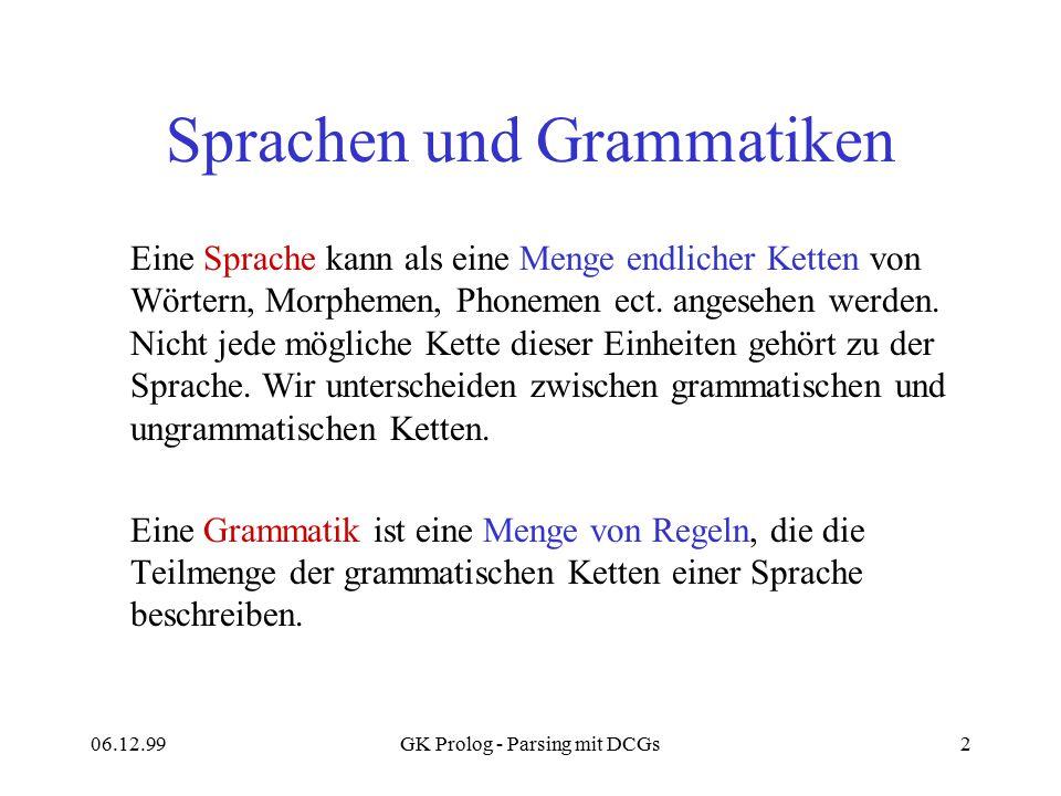 06.12.99GK Prolog - Parsing mit DCGs2 Sprachen und Grammatiken Eine Sprache kann als eine Menge endlicher Ketten von Wörtern, Morphemen, Phonemen ect.
