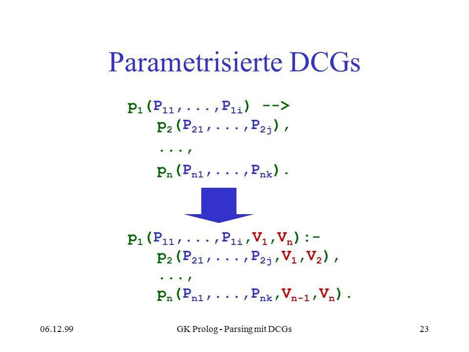 06.12.99GK Prolog - Parsing mit DCGs23 Parametrisierte DCGs p 1 (P 11,...,P 1i ) --> p 2 (P 21,...,P 2j ),..., p n (P n1,...,P nk ). p 1 (P 11,...,P 1