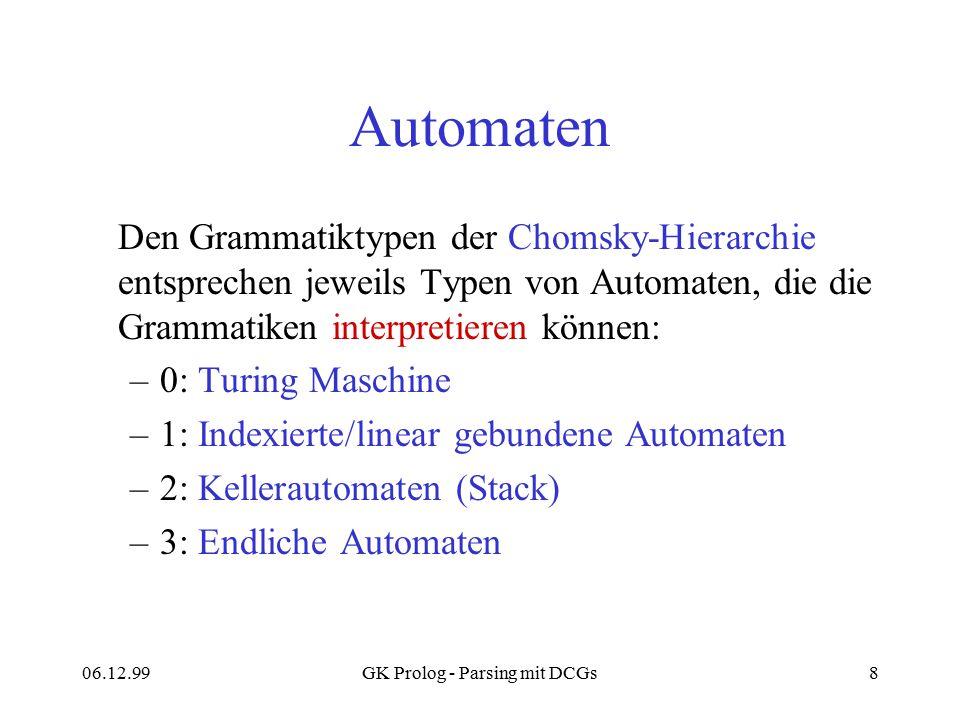 06.12.99GK Prolog - Parsing mit DCGs8 Automaten Den Grammatiktypen der Chomsky-Hierarchie entsprechen jeweils Typen von Automaten, die die Grammatiken