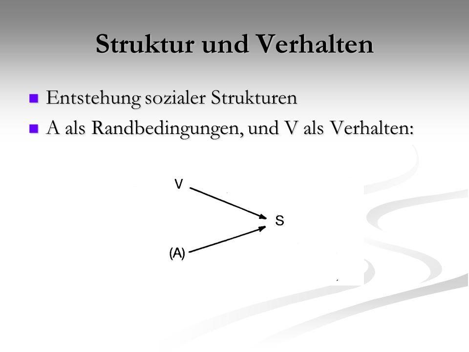 Struktur und Verhalten Entstehung sozialer Strukturen Entstehung sozialer Strukturen A als Randbedingungen, und V als Verhalten: A als Randbedingungen