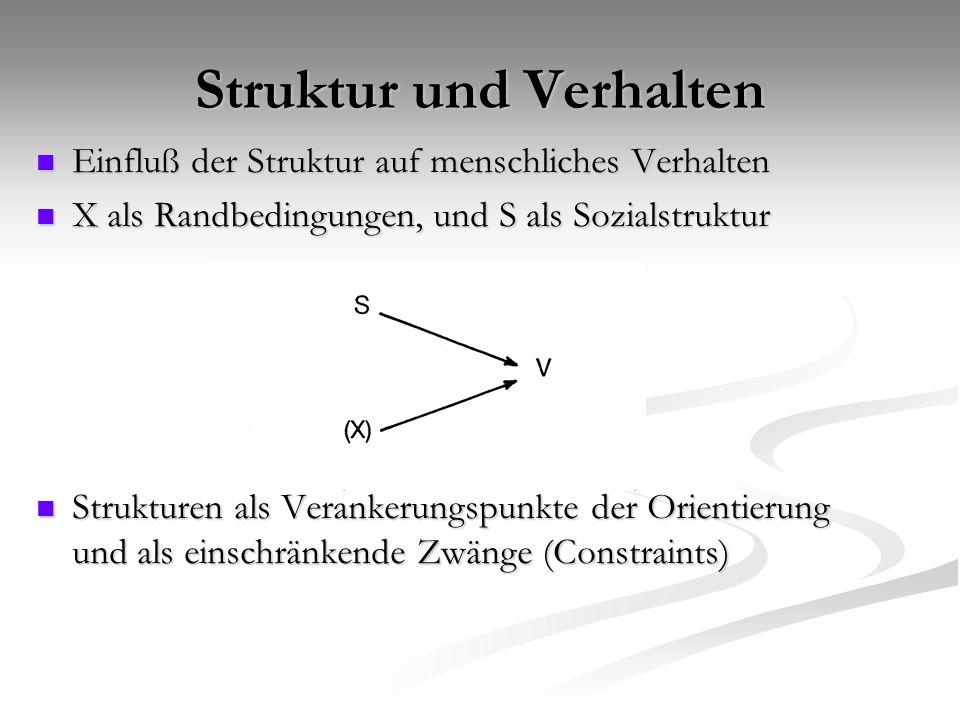 Struktur und Verhalten Einfluß der Struktur auf menschliches Verhalten Einfluß der Struktur auf menschliches Verhalten X als Randbedingungen, und S al