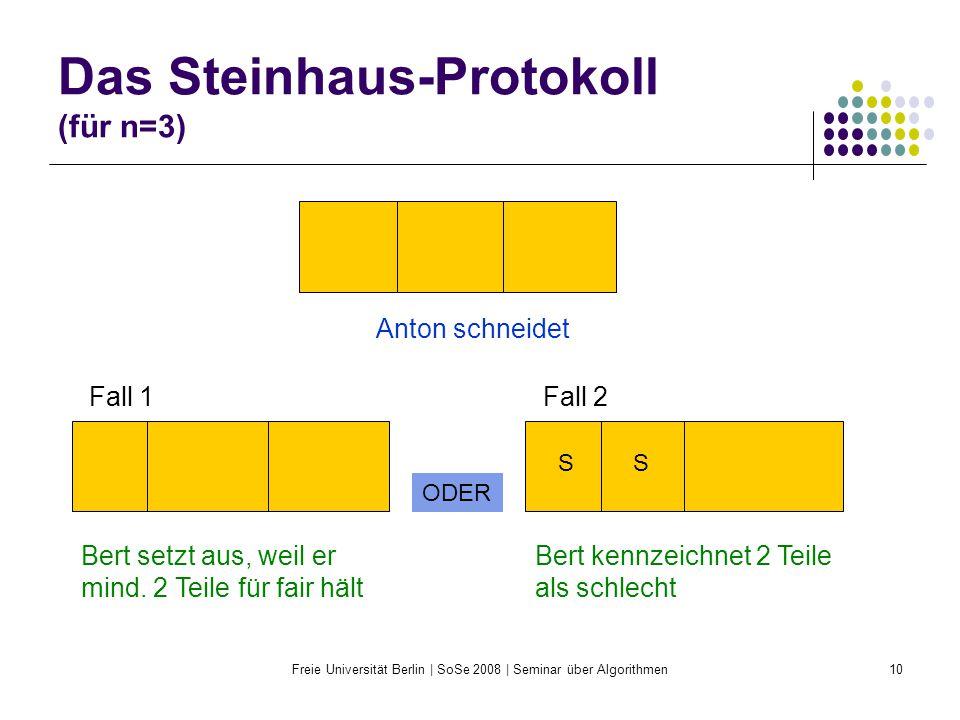 Freie Universität Berlin | SoSe 2008 | Seminar über Algorithmen10 Das Steinhaus-Protokoll (für n=3) Anton schneidet Bert setzt aus, weil er mind. 2 Te