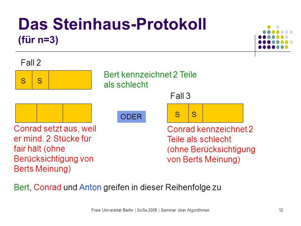 Freie Universität Berlin | SoSe 2008 | Seminar über Algorithmen12 Das Steinhaus-Protokoll (für n=3) SS Fall 2 Bert kennzeichnet 2 Teile als schlecht S