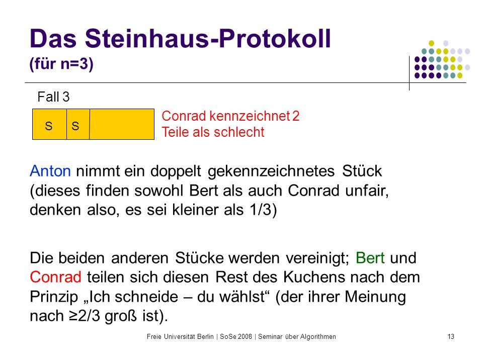 Freie Universität Berlin | SoSe 2008 | Seminar über Algorithmen13 Das Steinhaus-Protokoll (für n=3) Conrad kennzeichnet 2 Teile als schlecht Anton nim