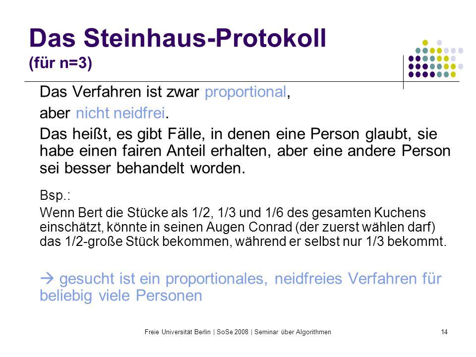 Freie Universität Berlin | SoSe 2008 | Seminar über Algorithmen14 Das Steinhaus-Protokoll (für n=3) Das Verfahren ist zwar proportional, aber nicht ne
