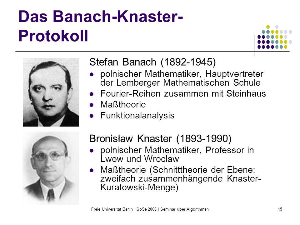 Freie Universität Berlin | SoSe 2008 | Seminar über Algorithmen15 Das Banach-Knaster- Protokoll Stefan Banach (1892-1945) polnischer Mathematiker, Hau