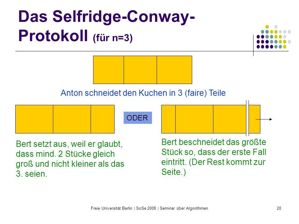 Freie Universität Berlin | SoSe 2008 | Seminar über Algorithmen20 Das Selfridge-Conway- Protokoll (für n=3) Anton schneidet den Kuchen in 3 (faire) Te