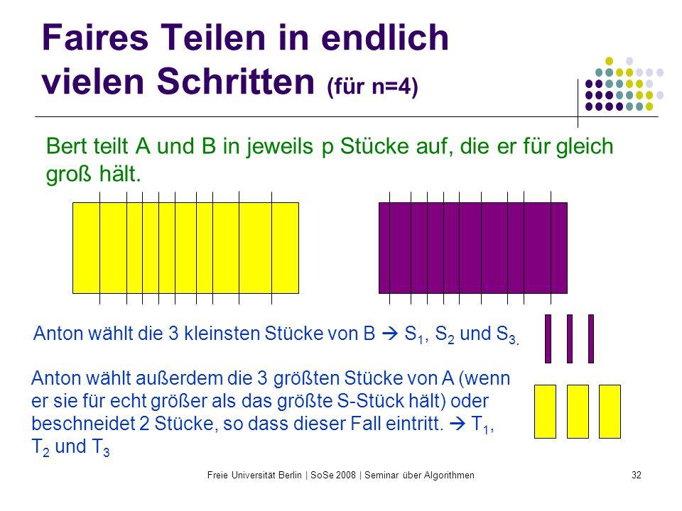 Freie Universität Berlin | SoSe 2008 | Seminar über Algorithmen32 Faires Teilen in endlich vielen Schritten (für n=4) Bert teilt A und B in jeweils p