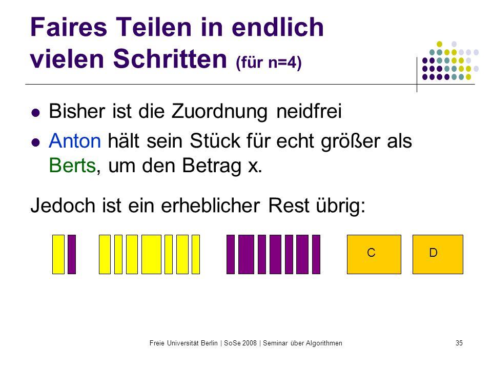 Freie Universität Berlin | SoSe 2008 | Seminar über Algorithmen35 Faires Teilen in endlich vielen Schritten (für n=4) Bisher ist die Zuordnung neidfre