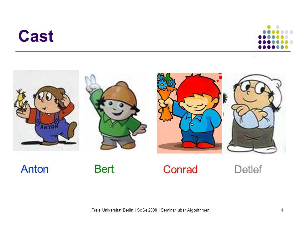 Freie Universität Berlin | SoSe 2008 | Seminar über Algorithmen35 Faires Teilen in endlich vielen Schritten (für n=4) Bisher ist die Zuordnung neidfrei Anton hält sein Stück für echt größer als Berts, um den Betrag x.