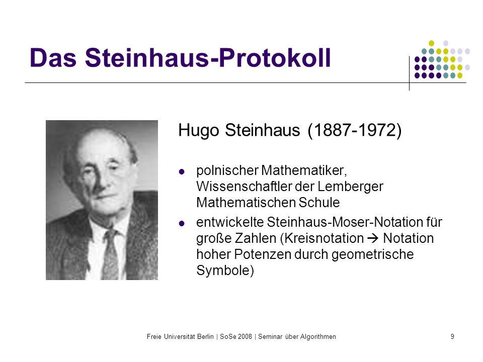 Freie Universität Berlin | SoSe 2008 | Seminar über Algorithmen9 Das Steinhaus-Protokoll Hugo Steinhaus (1887-1972) polnischer Mathematiker, Wissensch