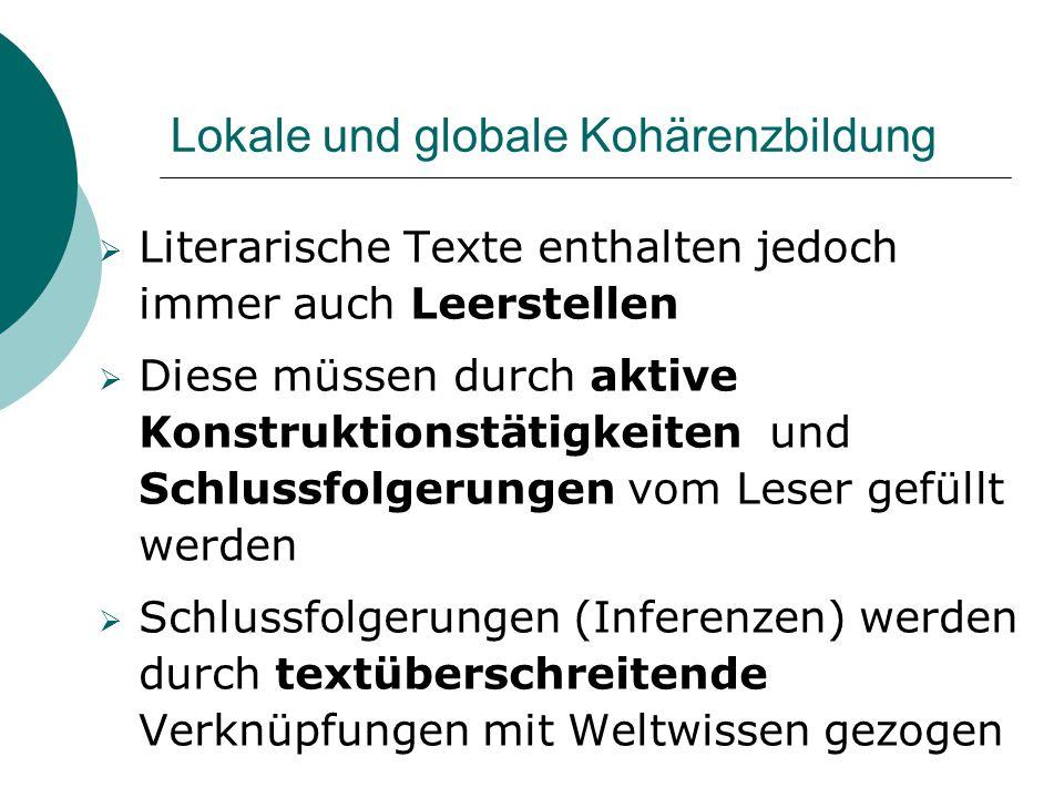 Lokale und globale Kohärenzbildung  Literarische Texte enthalten jedoch immer auch Leerstellen  Diese müssen durch aktive Konstruktionstätigkeiten u