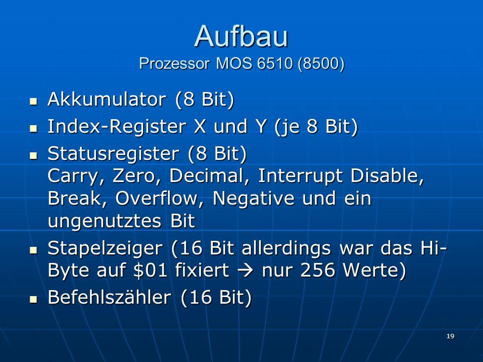 19 Aufbau Prozessor MOS 6510 (8500) Akkumulator (8 Bit) Akkumulator (8 Bit) Index-Register X und Y (je 8 Bit) Index-Register X und Y (je 8 Bit) Statusregister (8 Bit) Carry, Zero, Decimal, Interrupt Disable, Break, Overflow, Negative und ein ungenutztes Bit Statusregister (8 Bit) Carry, Zero, Decimal, Interrupt Disable, Break, Overflow, Negative und ein ungenutztes Bit Stapelzeiger (16 Bit allerdings war das Hi- Byte auf $01 fixiert  nur 256 Werte) Stapelzeiger (16 Bit allerdings war das Hi- Byte auf $01 fixiert  nur 256 Werte) Befehlszähler (16 Bit) Befehlszähler (16 Bit)