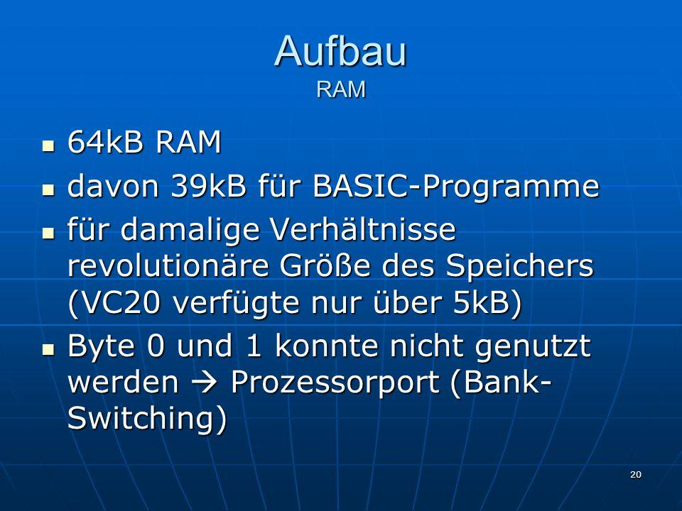 20 Aufbau RAM 64kB RAM 64kB RAM davon 39kB für BASIC-Programme davon 39kB für BASIC-Programme für damalige Verhältnisse revolutionäre Größe des Speichers (VC20 verfügte nur über 5kB) für damalige Verhältnisse revolutionäre Größe des Speichers (VC20 verfügte nur über 5kB) Byte 0 und 1 konnte nicht genutzt werden  Prozessorport (Bank- Switching) Byte 0 und 1 konnte nicht genutzt werden  Prozessorport (Bank- Switching)
