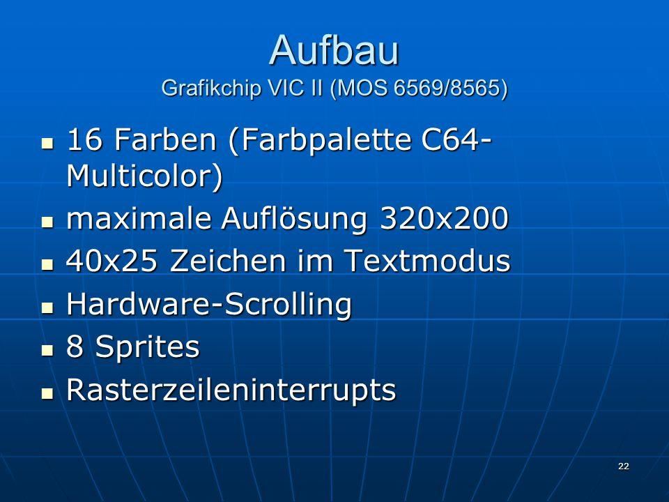 22 Aufbau Grafikchip VIC II (MOS 6569/8565) 16 Farben (Farbpalette C64- Multicolor) 16 Farben (Farbpalette C64- Multicolor) maximale Auflösung 320x200