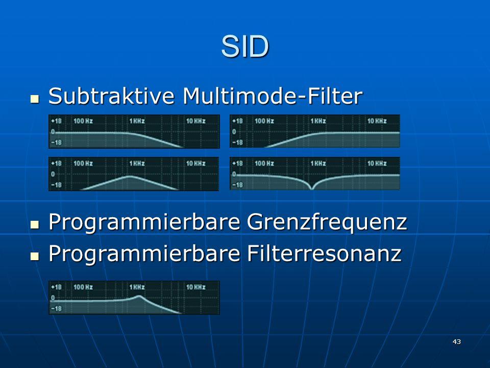 43 SID Subtraktive Multimode-Filter Subtraktive Multimode-Filter Programmierbare Grenzfrequenz Programmierbare Grenzfrequenz Programmierbare Filterresonanz Programmierbare Filterresonanz