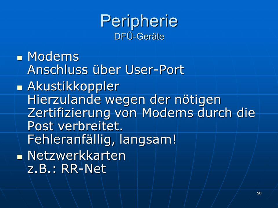 50 Peripherie DFÜ-Geräte Modems Anschluss über User-Port Modems Anschluss über User-Port Akustikkoppler Hierzulande wegen der nötigen Zertifizierung von Modems durch die Post verbreitet.
