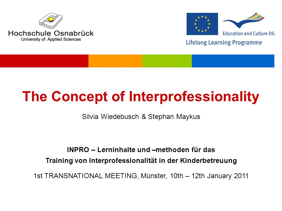  Interprofessionality is defined as the development of a cohesive practice between professionals from different disciplines.