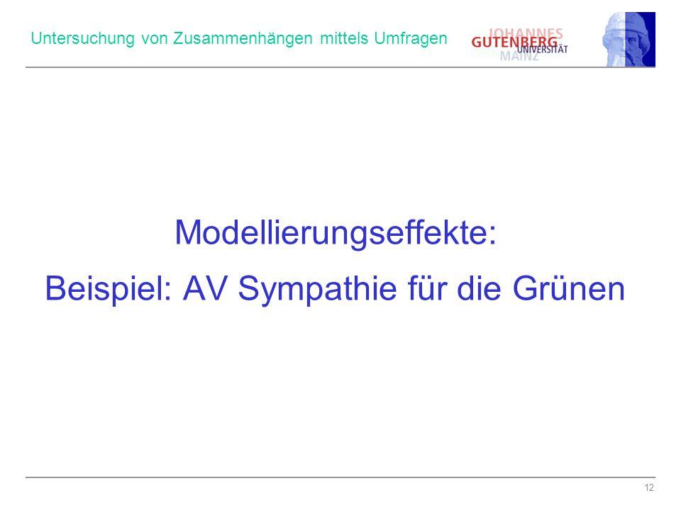 12 Untersuchung von Zusammenhängen mittels Umfragen Modellierungseffekte: Beispiel: AV Sympathie für die Grünen