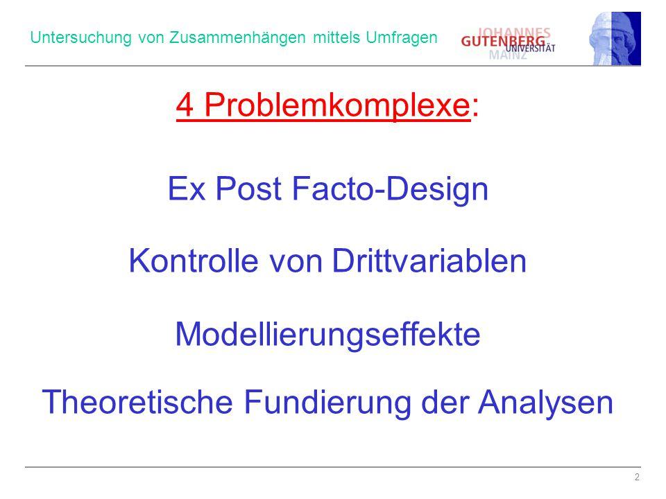 2 Untersuchung von Zusammenhängen mittels Umfragen 4 Problemkomplexe: Ex Post Facto-Design Kontrolle von Drittvariablen Modellierungseffekte Theoretische Fundierung der Analysen