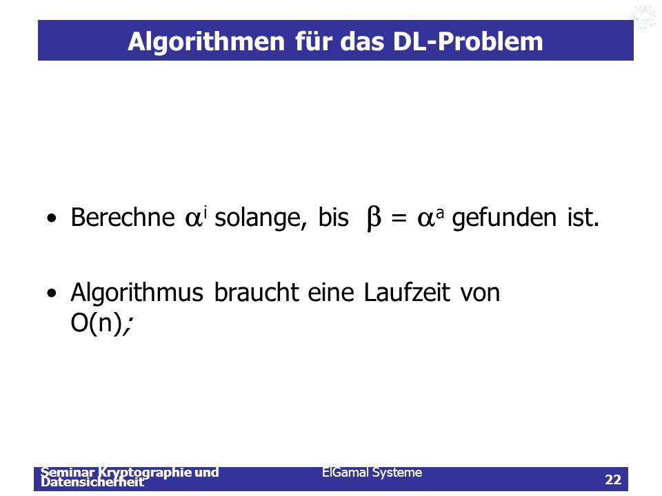 Seminar Kryptographie und Datensicherheit ElGamal Systeme 22 Algorithmen für das DL-Problem Berechne  i solange, bis  =  a gefunden ist. Algorithmu