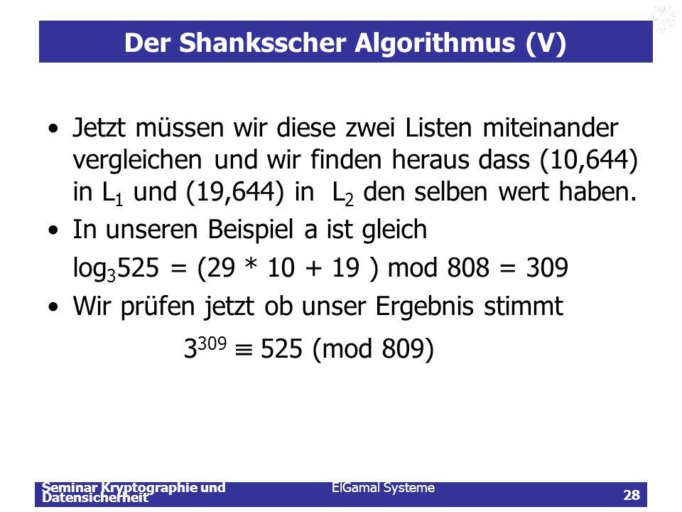 Seminar Kryptographie und Datensicherheit ElGamal Systeme 28 Der Shanksscher Algorithmus (V) Jetzt müssen wir diese zwei Listen miteinander vergleiche
