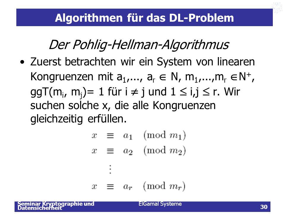 Seminar Kryptographie und Datensicherheit ElGamal Systeme 30 Algorithmen für das DL-Problem Der Pohlig-Hellman-Algorithmus Zuerst betrachten wir ein S