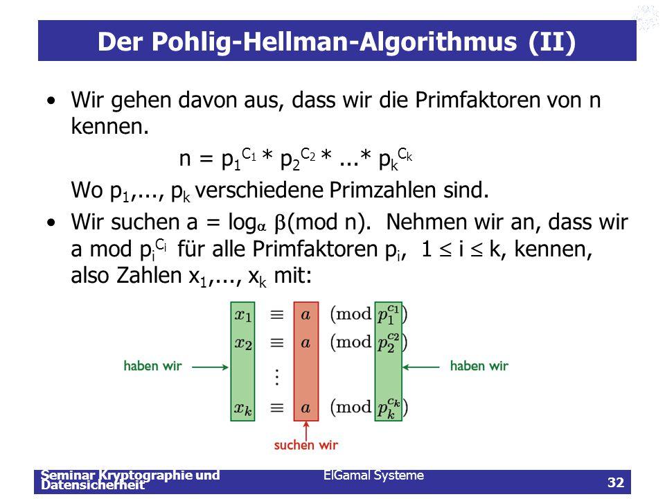 Seminar Kryptographie und Datensicherheit ElGamal Systeme 32 Der Pohlig-Hellman-Algorithmus (II) Wir gehen davon aus, dass wir die Primfaktoren von n