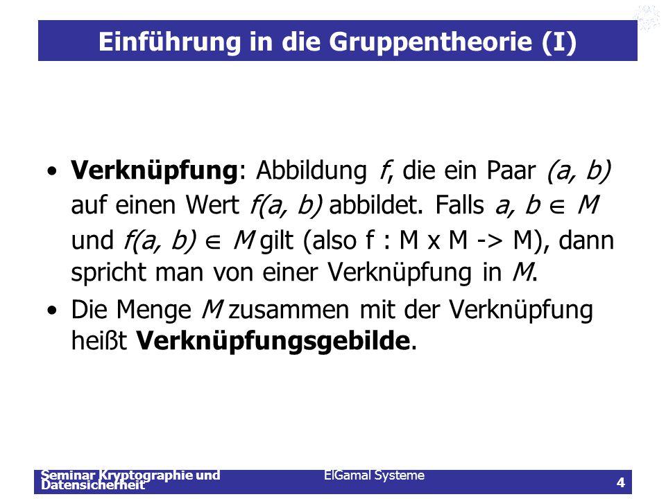 Seminar Kryptographie und Datensicherheit ElGamal Systeme 5 Einführung in die Gruppentheorie (II) Das Verknüpfungsgebilde (G, *), wobei G eine Menge und * eine zweistellige Verknüpfung auf G ist, heißt Gruppe, wenn folgende Axiome erfüllt sind: –Abgeschlossenheit: Sind a und b Elemente aus M, so ist auch a × b aus G.