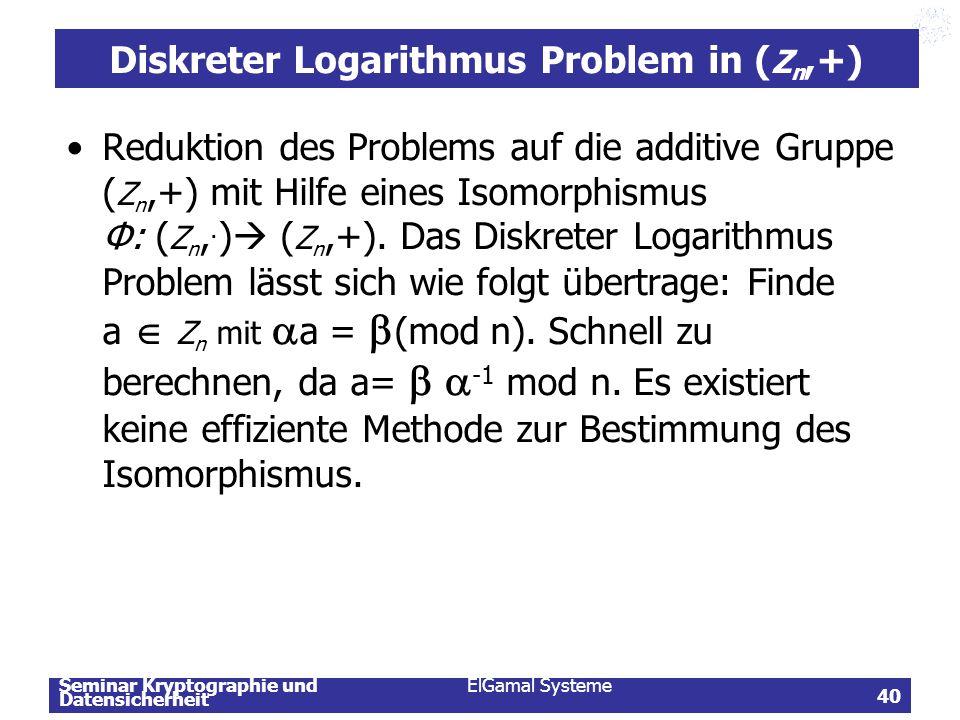 Seminar Kryptographie und Datensicherheit ElGamal Systeme 40 Diskreter Logarithmus Problem in ( Z n,+) Reduktion des Problems auf die additive Gruppe