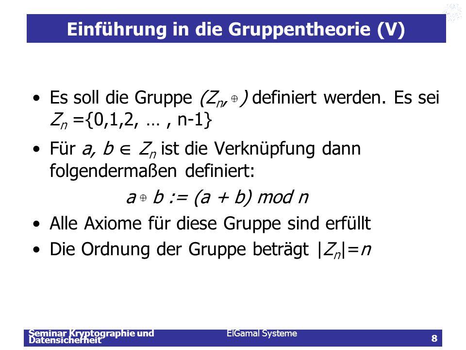 Seminar Kryptographie und Datensicherheit ElGamal Systeme 8 Einführung in die Gruppentheorie (V) Es soll die Gruppe (Z n, ) definiert werden. Es sei Z