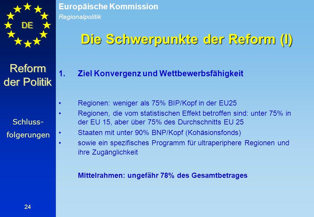Regionalpolitik Europäische Kommission DE 24 Die Schwerpunkte der Reform (I) 1.Ziel Konvergenz und Wettbewerbsfähigkeit Regionen: weniger als 75% BIP/