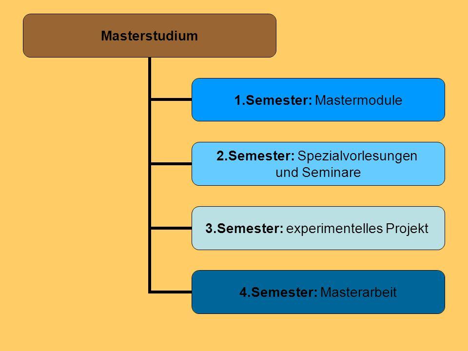 Masterstudium 1.Semester: Mastermodule 2.Semester: Spezialvorlesungen und Seminare 3.Semester: experimentelles Projekt 4.Semester: Masterarbeit