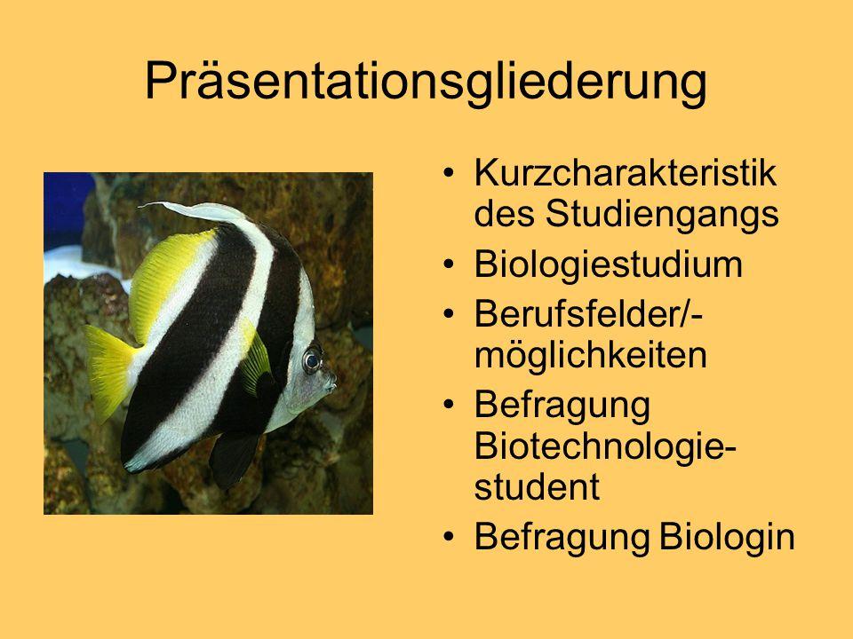 Präsentationsgliederung Kurzcharakteristik des Studiengangs Biologiestudium Berufsfelder/- möglichkeiten Befragung Biotechnologie- student Befragung B