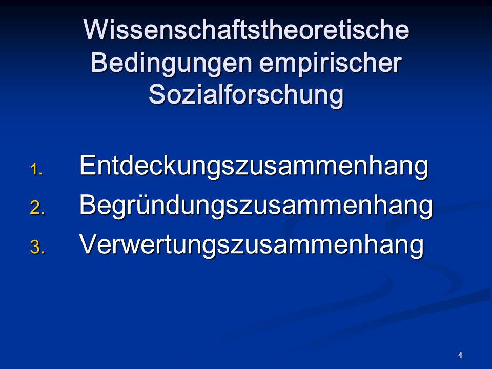 4 Wissenschaftstheoretische Bedingungen empirischer Sozialforschung 1. Entdeckungszusammenhang 2. Begründungszusammenhang 3. Verwertungszusammenhang
